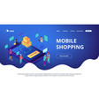 isometric mobile shopping online landing page vector image vector image