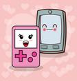 kawaii smartphone gamepad image vector image vector image