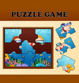 kids diving in undersea with puzzle concept vector image vector image