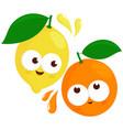 lemon and orange characters vector image