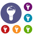 Light bulb and planet earth icons set