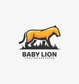 logo baby lion simple mascot style vector image vector image