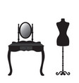 mannequin and dressing table silhouette vector image vector image