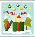 Merry Christmas Greeting Card with cat inside gift vector image vector image