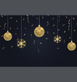 new year dark background with gold christmas balls vector image
