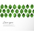 pattern with green leaves on white background vector image
