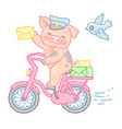 pig postman vector image vector image