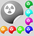 radiation icon sign Set of eight multi colored vector image