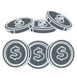 rows dollar coins in grey color vector image vector image