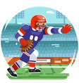 running american football rugby player character vector image vector image