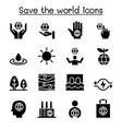 save the world icon set vector image vector image