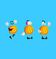 set bitcoins funny cryptocurrency characters vector image vector image