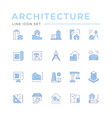 set color line icons architecture vector image vector image