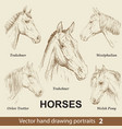 set hand drawing horses 2 vector image vector image