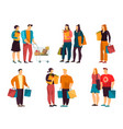 set isolated simple people with grocery vector image