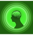 Silhouette of the human head with brain vector image vector image