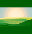 summer green landscape field dawn above hills with vector image