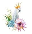 Watercolor parrot with flowers vector image