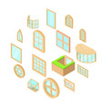 window forms icons set isometric style vector image