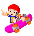 cool little skateboard guy doing an extreme stunt vector image