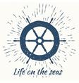 helm and vintage sun burst frame life on the seas vector image