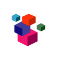 3d abstract square cube stacked boxes logo symbol vector image vector image