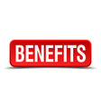benefits red three-dimensional square button vector image vector image
