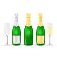 bottles and glasses of sparkling wine or champagne vector image vector image