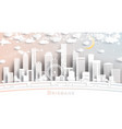brisbane australia city skyline in paper cut vector image