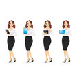 business woman with gadgets vector image