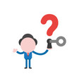 businessman holding question mark with keyhole vector image