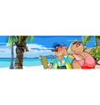 cartoon fat tourists with a map on the beach vector image vector image