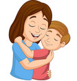 cartoon happy mother hugging her son vector image