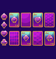 cartoon purple four poker game cards and card back vector image vector image