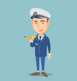 cheerful airline pilot with model of airplane vector image vector image