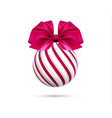 christmas ball in white and pink color with vector image