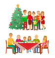 christmas holiday celebration family by fir tree vector image vector image