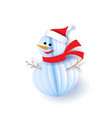 color paper cut design and craft snowman vector image