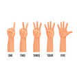 counting hands show figures count one two three vector image