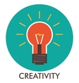 Creativity Light bulb Line icon with flat design vector image vector image