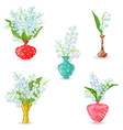 cute collection vases with bouquets of small vector image vector image