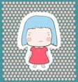 Cute Gloomy Candy Blue Hair Cartoon Baby Girl vector image