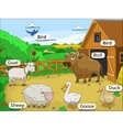 Farm animals with names cartoon educational vector image vector image