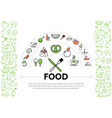 food line icons composition vector image vector image