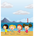 Four girls dancing at the beach vector image vector image
