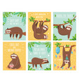 greeting card with lazy sloth cartoon cute sloths vector image vector image
