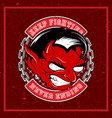 grunge style angry red devil vector image
