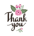 Hand drawn garden floral Thank you card Hand drawn vector image vector image