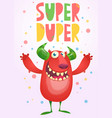 happy cartoon red monster postcard vector image