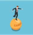 isometric businessman stand and balancing vector image vector image
